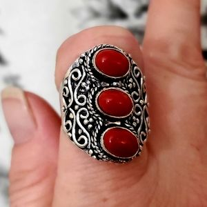 New Coral 925 Silver Statement Ring. Size 10.75